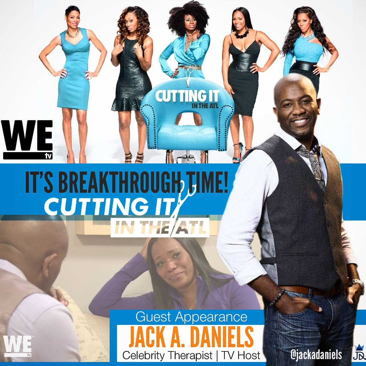Jack A. Daniels appears as Guest Therapist on WEtv's Cutting it in the ATL TV Show